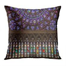 Llsty Throw Pillow Cover 18 x 18 inches Paris France March 27 2017 Stained Antique Arch Polyester Print Soft Square for Couch Sofa Bedroom Pillowcase Hidden Zipper Home Style Cushion Case