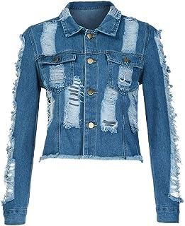 1676854faca TOPUNDER Hole Short Denim Coat Ladies Denim Casual Jacket Outwear Jean  Overcoat Women