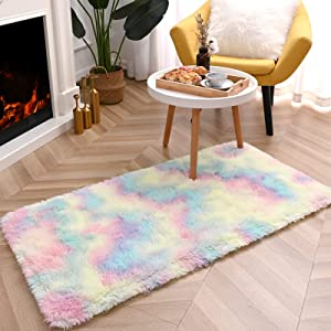 junovo Soft Rainbow Area Rugs for Girls Room, Fluffy Colorful Rugs Cute Floor Carpets Shaggy Playing Mat for Kids Baby Girls Bedroom Nursery Home Decor, 2ft x 4ft