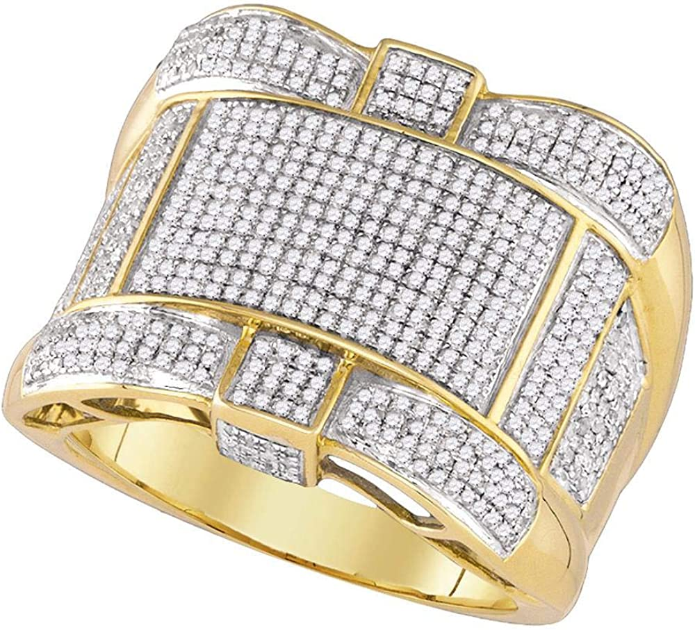 Dazzlingrock Collection 10kt Free shipping New Yellow Gold Diamond Round Clus Mens trend rank