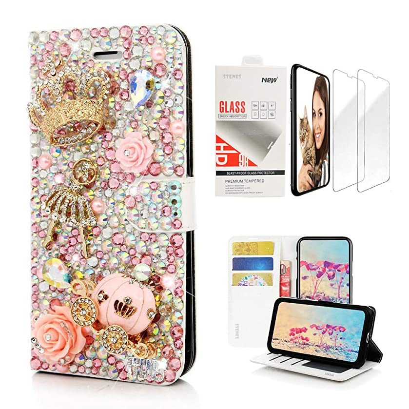 STENES Bling Wallet Case Compatible with iPhone XR - 3D Handmade Crown Ballet Pretty Girl Pumpkin Car Flowers Design Leather Case with Wrist Strap & Screen Protector [2 Pack] - Pink