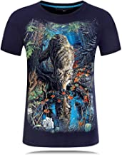 Mens Novelty Forest Wolf Brife Style 3D Animal Print Casual Short Sleeve Top Tees