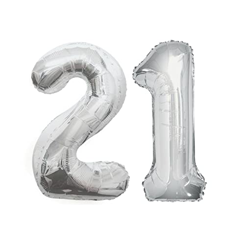 GIANT SILVER NUMBER 21 FOIL BALLOONS DECORATION