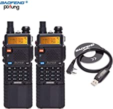2Pack BaoFeng UV-5R 8 Watt High Power VHF UHF Dual Band Two Way Radio Tri-Power 8/4/1W Portable Ham Radio with USB Program Cable