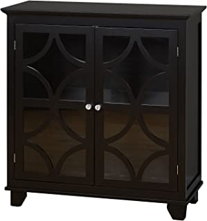 Target Marketing Systems Sydney Accent Storage Cabinet with Trellis Overlay Glass Doors and 2 Shelves, Black