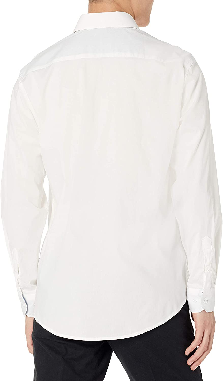 Azaro Uomo Men's Stretchy Solid Button Down Casual Shirt Fashion Trim