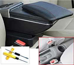 MyGone for Nissan Sunny/Versa 11-16 Car Center Console Armrest Storage Box Accessories,Arm Rest,with Cup Holder,Removable Ashtray,Black