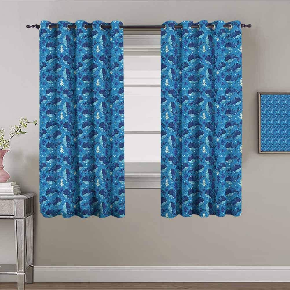 Whale Kids Curtain Aquatic Background San Francisco Mall Outstanding Seaweed Cart with and Fish