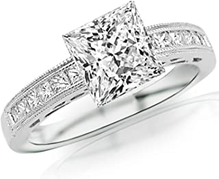 Houston Diamond District 2 Carat 14K White Gold Channel Set Princess Cut Diamond Engagement Ring with Milgrain with a 1.6 Carat Moissanite Center