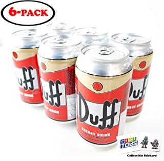 The Simpsons Duff Enerdy Drink (6 Pack) Wonderful Orange Flavor with 2 GosuToys Stickers