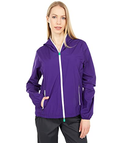 Save the Duck Stella WIND Recycled Poly Rain Jacket (Deep Purple/White) Women