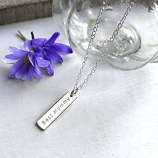 Personalised Sterling Silver Best Mummy Bar Necklace, Mother's Day gift, personalised gift, new mum gift, birthday gift fo...