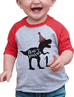 7 ate 9 Apparel Dino One Birthday Dinosaur Red Baseball Tee