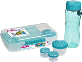 Sistema 82006 to Go Lunch Box & Meal Containers | with Water Bottle (800ml), Bento Box (1.76L) & 2 Dressing Pots & 2 Yoghu...
