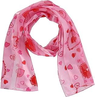 CTM Women's Valentine's Day Heart Print Holiday Lightweight Scarf