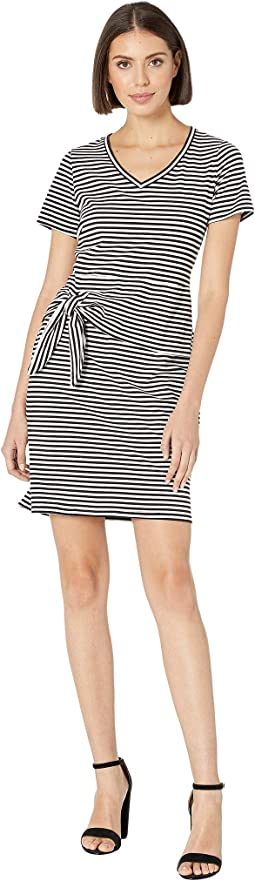 Stripe Jersey Short Sleeve Peplum Dress