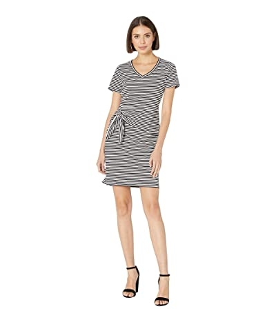 Tribal Stripe Jersey Short Sleeve Peplum Dress (White) Women