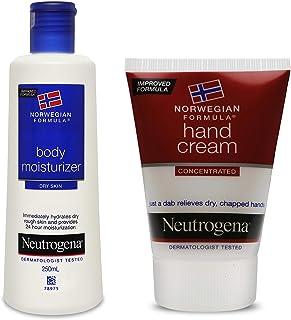 Neutrogena Norwegian Formula Body Moisturizer, 250ml And Neutrogena Norwegian Formula Hand Cream For Women and Men, 56g