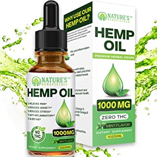 Organic Hemp Oil 1000MG - Ultra-Premium Pain Relief Anti-Inflammatory, Stress & Anxiety Relief, Joint Support, Sleep Aid, ...