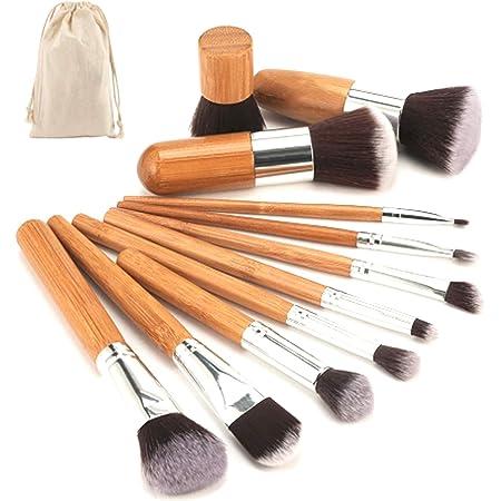 Brochas para maquillaje set Bambu cruelty free | Pinceles para maquillar cara y ojos Kabuki suaves de pelo sintetico de alta calidad