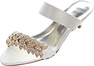 Women's Satin Kitten Heel Flip-Flops Peep Toe Sandals Slingbacks with Rhinestone