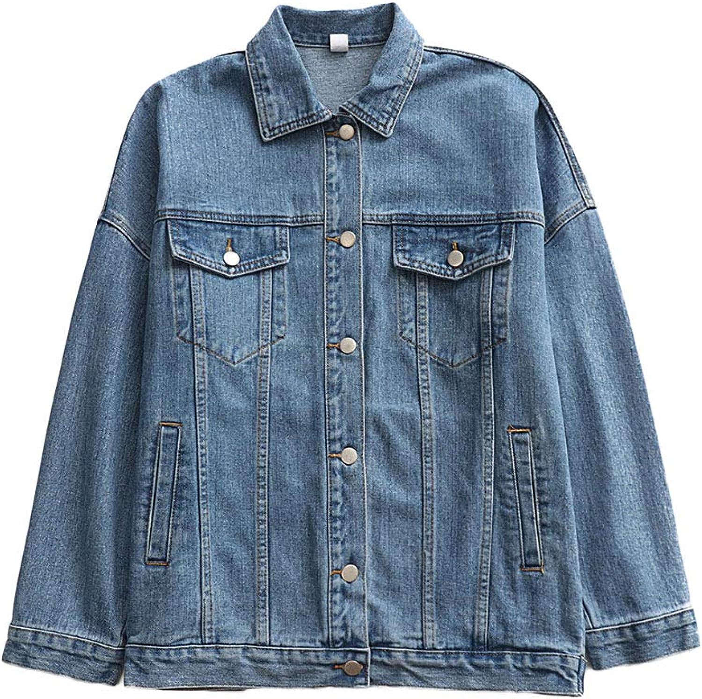 Short Paragraph Denim Jacket  Women's Loose Boyfriend Denim Jacket Casual Long Sleeve Denim Top Polo Collar (color   bluee, Size   L)