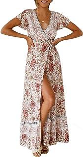 8b445306a4723 Dokotoo Femme Longue Robe Bohème Robe de Plage Élégant Imprimé Floral Maxi  Robe Soleil Sexy Col