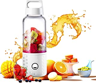 Portable Blender, Powerful Smoothie Blender, 17Oz Fruit Mixing Machine With Usb Rechargeable Batteries,White