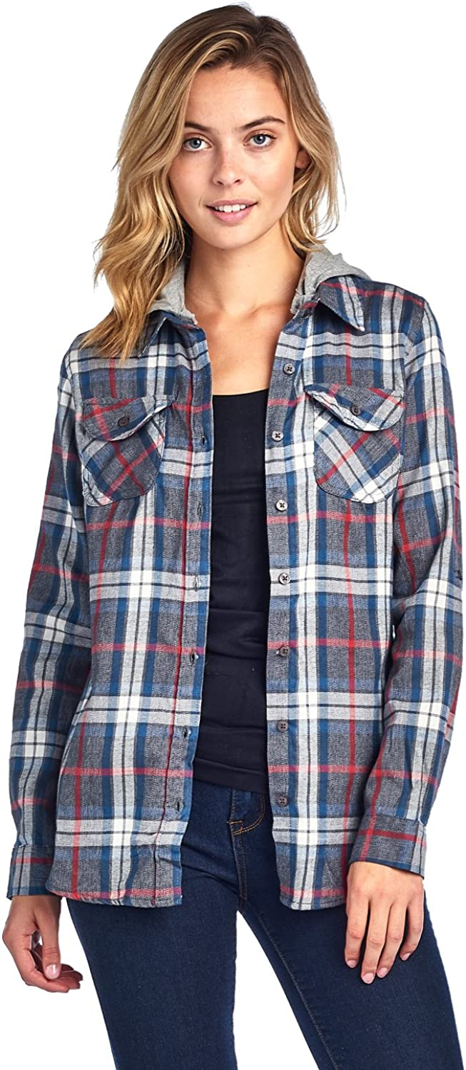 ICONICC Women's Long Sleeve Plaid Flannel Shirts with Detachable Hood