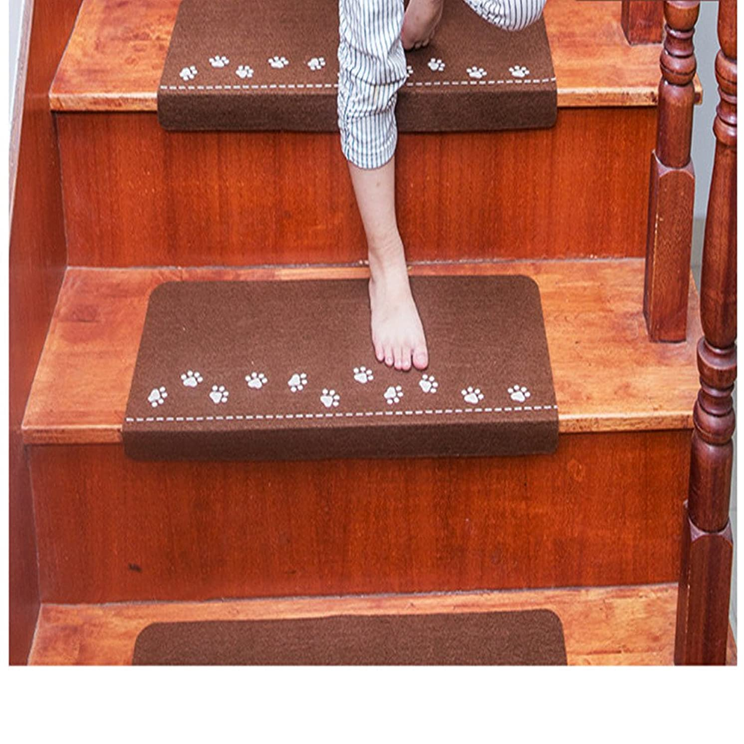 JIN+D Luminous Visual Stair Carpet Pad Anti-Skid Staircase Mats Safe Treads ,Soft for Household Solid Wood Stair, Glue-Free Self-Adhesive Non-Slip Stair Mat