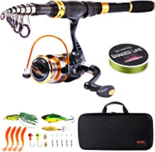 Sougayilang Fishing Rod Reel Combos Carbon Fiber Telescopic Fishing Pole with Spinning..