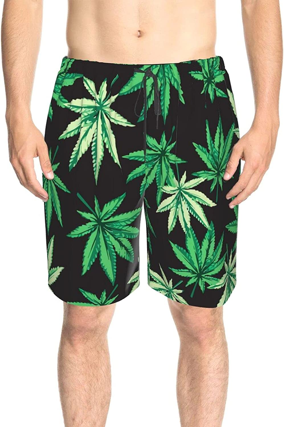 JINJUELS Men's Swim Shorts Green Weed Leaves Swim Short Boardshort Quick Dry Cool Swimwear Bathing Suits with Lining