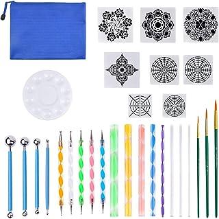 30 Pcs Kit Outil Peinture pour Mandala sur Galet Outils de Pointage Pochoir Mandala,Palette Peinture,Tiges en Acrylique et...