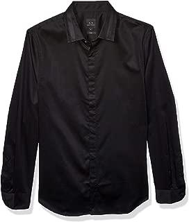 A X Armani Exchange Men's Long Sleeve Cotton Stretch Satin Button Down Shirt