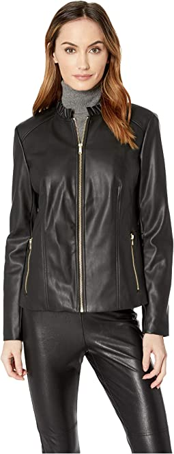 Faux Leather Ruffle Collar Jacket