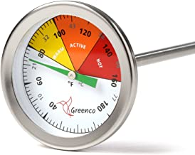 Compost Soil Thermometer by Greenco, Stainless Steel, Celsius and Fahrenheit Temperature Dial, 20 inch Stem