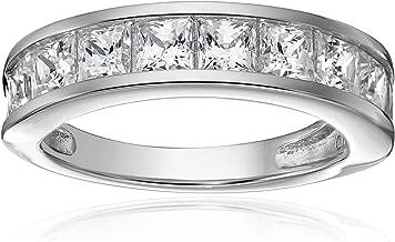 Platinum-Plated Sterling Silver Swarovski Zirconia Princess-Cut Channel-Set Band Ring