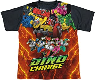 Power Rangers Dino Charge Zord Power Youth Black Back 100% Poly T-Shirt