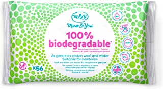 Mum & You Toallitas Húmedas Para Bebés 100% Biodegradables, Paquete De 12, (672 Toallitas En Total). 98% De Agua, 0% De Plástico, Hipoalergénico Y Dermatológicamente Probado.