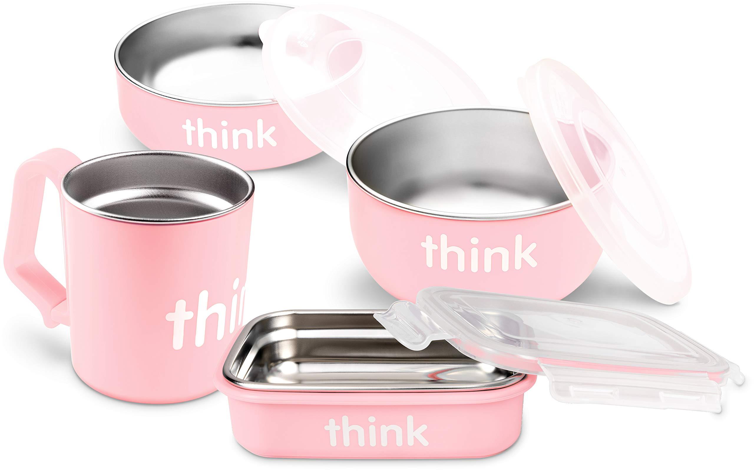 美国-Thinkbaby 辛克宝贝 不锈钢儿童餐具4件套(饭盒、汤碗、餐碗、水杯) 喂养套装-粉色