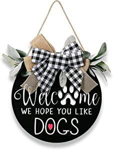 Halafs Welcome Sign for Front Door Decor, Home Decor for Gifts, Front Porch Wall Decor, Wreaths for Front Door, Rustic Door Hangers with Premium Greenery-Welcome Home Sign for Dogs Lovers