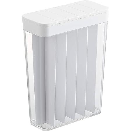 山崎実業 計量 ライスストッカー スライド式 1合分別 冷蔵庫用米びつ ホワイト 約W18.5XD8.5XH24.5cm プレート 3822