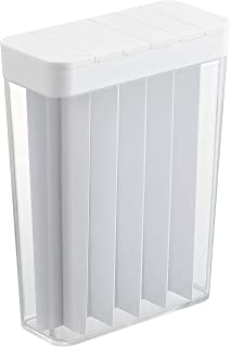 山崎実業(Yamazaki) 計量 ライスストッカー スライド式 1合分別 冷蔵庫用米びつ ホワイト 約W18.5XD8.5XH24.5cm プレート 3822