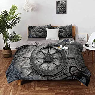 """Ships Wheel Decor Cover Set, Vintage Navigation Equipment Illustration with Steering Wheel Charts Anchor Chains 1Comforter Cover and 2 Pillow Shams Duvet Cover Set with Zipper Closure - Twin 68""""x90"""""""