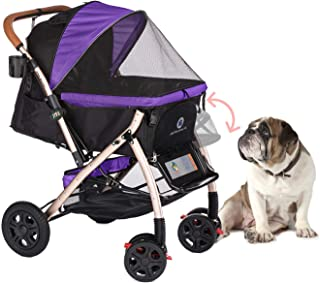 HPZ Pet Rover XL Extra-Long Premium Heavy Duty Dog/Cat/Pet Stroller Travel Carriage with Convertible Compartment/Zipperless Entry/Pump-Free Rubber Tires for Small, Medium, Large Pets