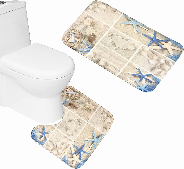 Amagical Blue Starfish Seashell Conch 2 Set Piece Spring new work W Bathroom Mat Overseas parallel import regular item