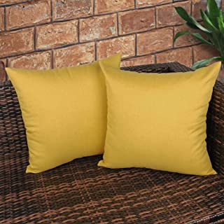 CZHO Pack of 2, Decorative Outdoor Waterproof Throw Pillow Covers, Square UV Protection Garden Cushion Case, PU Coating Pillow Shell for Patio, Porch and Balcony (Yellow, 18x18 Inch)