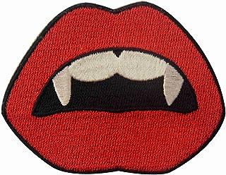 Toppa ricamata da applicare con ferro da stiro o cucitura, tema: Vampire Bocca Sangue Sexy Labbra Rosse