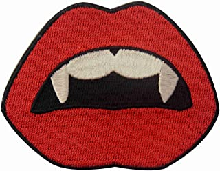 Vampire Mouth Blood Sexy Red Lips Embroidered Applique Iron On Sew On Patch