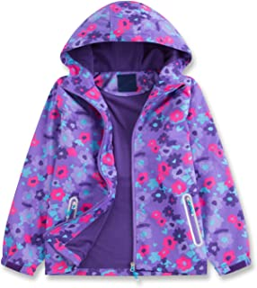Star Flower Little Girls Rain Jacket Coats with Hood